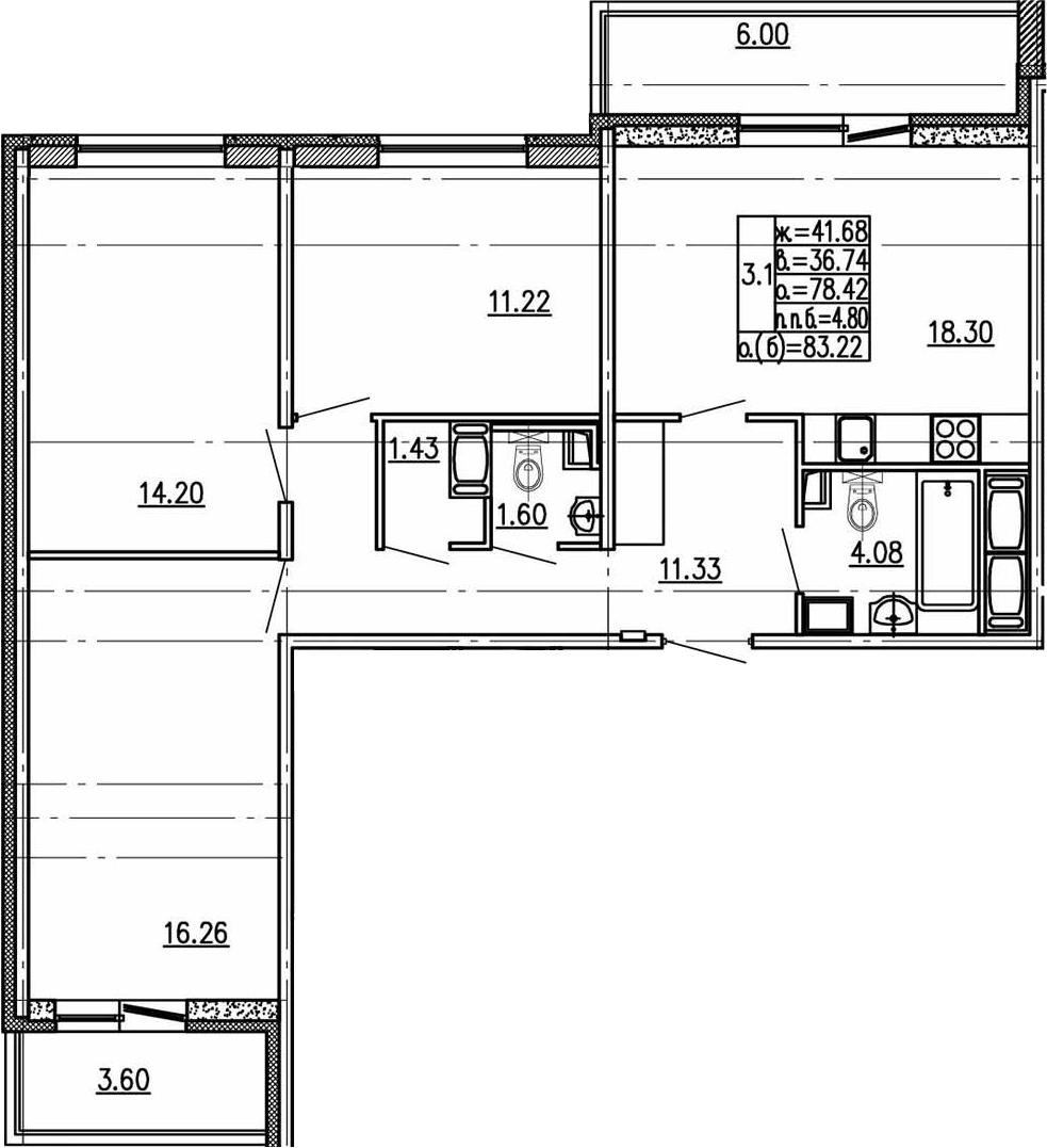 4Е-к.кв, 78.42 м²
