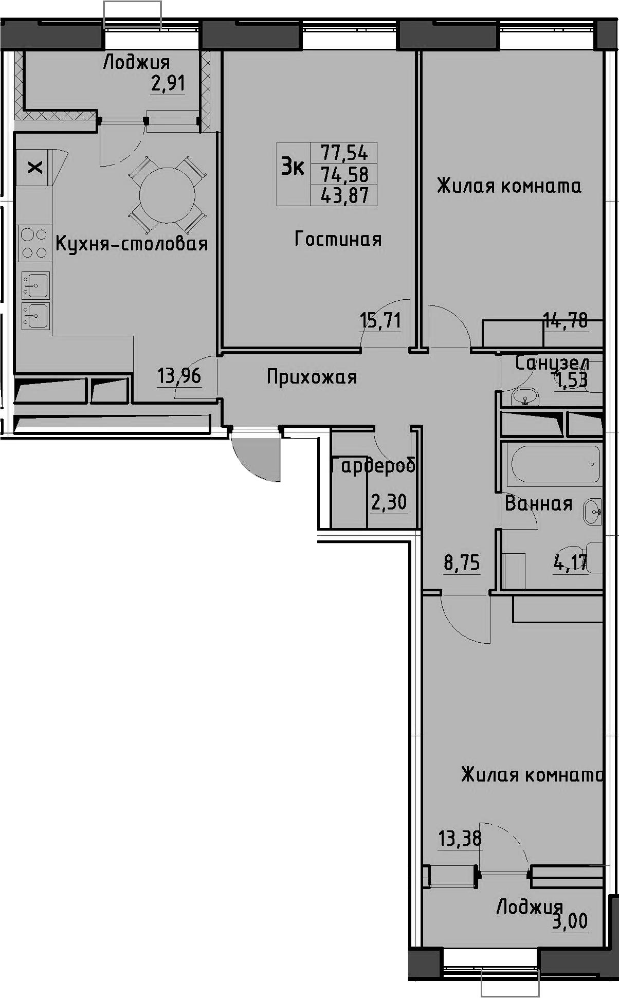 3-к.кв, 77.54 м²
