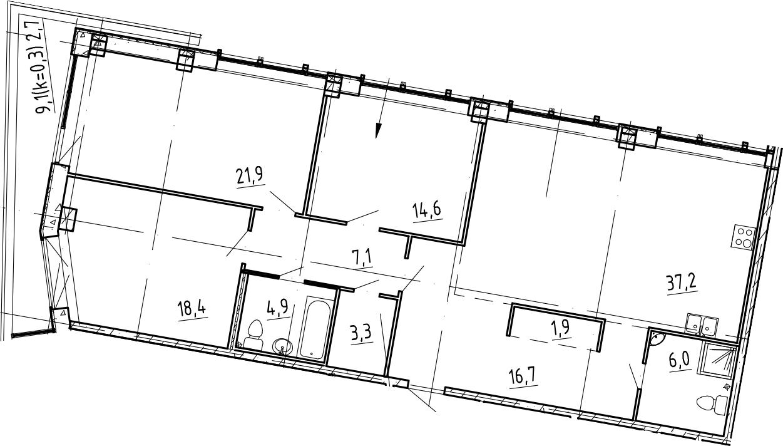 4Е-комнатная, 134.7 м²– 2