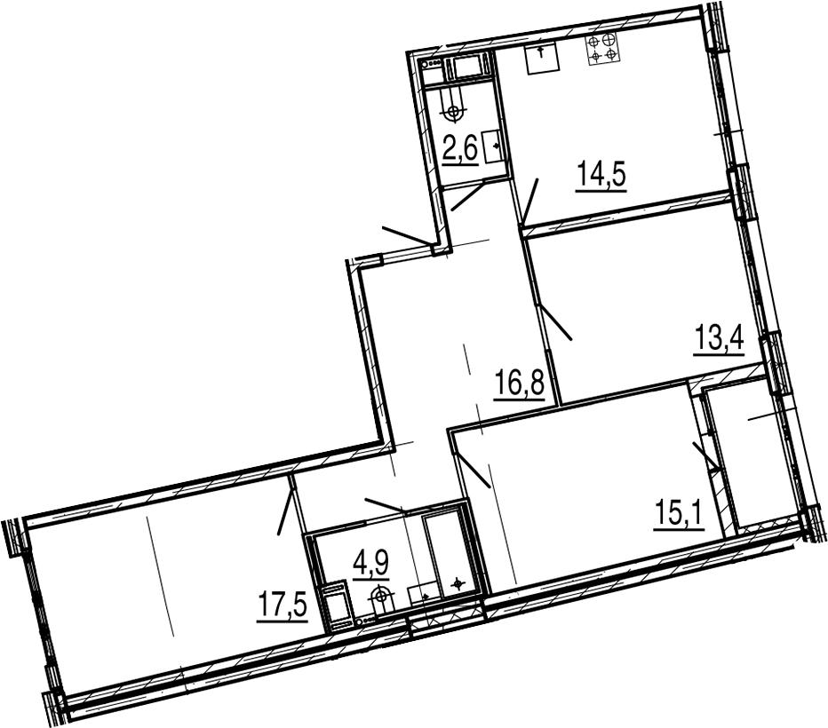 3-к.кв, 86.5 м², 8 этаж
