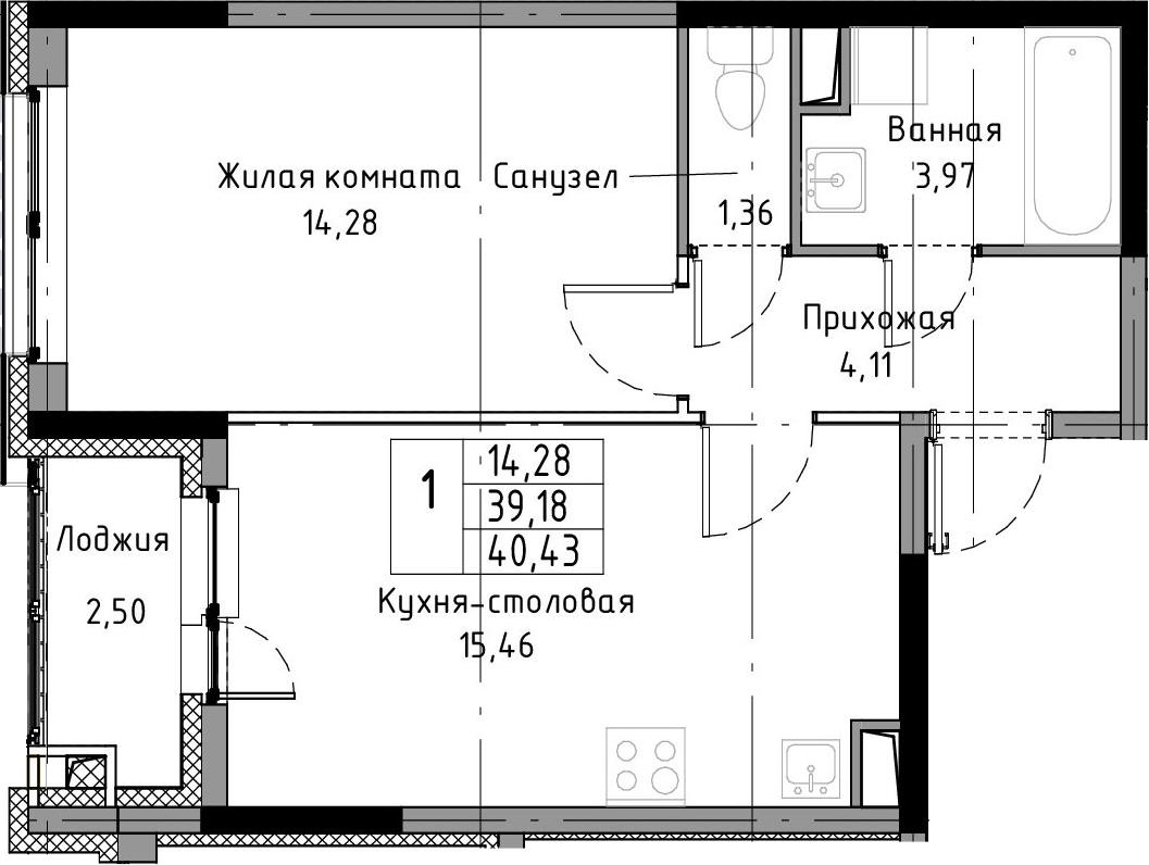 2-к.кв (евро), 41.68 м²