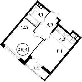 2Е-к.кв, 38.4 м², 14 этаж