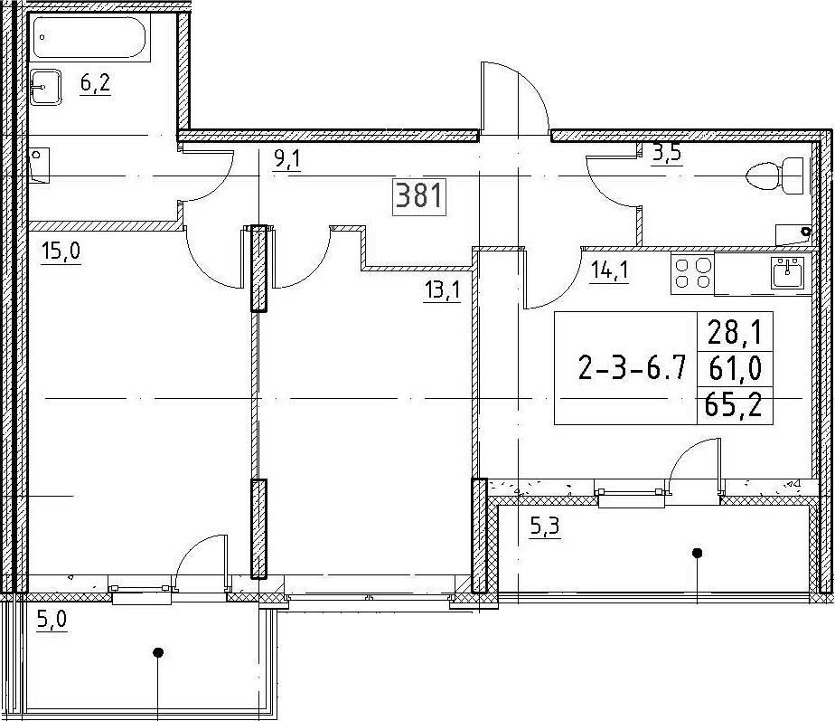 2-к.кв, 65.2 м²