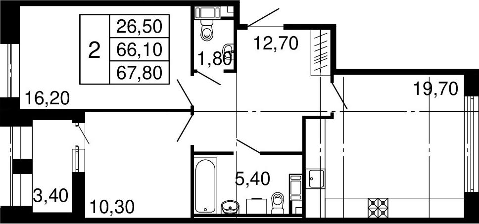 3Е-комнатная, 66.1 м²– 2