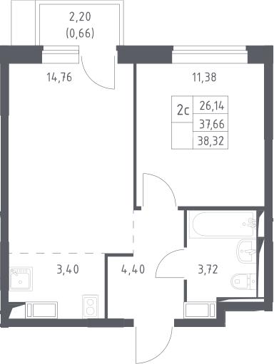 2Е-комнатная, 38.32 м²– 2