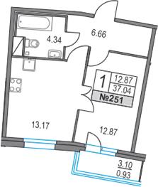 1-к.кв, 37.04 м²