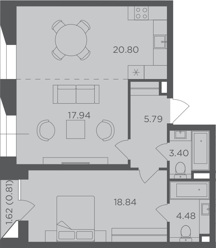 2-к.кв, 72.06 м², 5 этаж