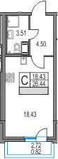 Студия, 26.44 м², 3 этаж