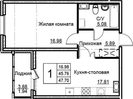 2Е-к.кв, 47.7 м², от 8 этажа