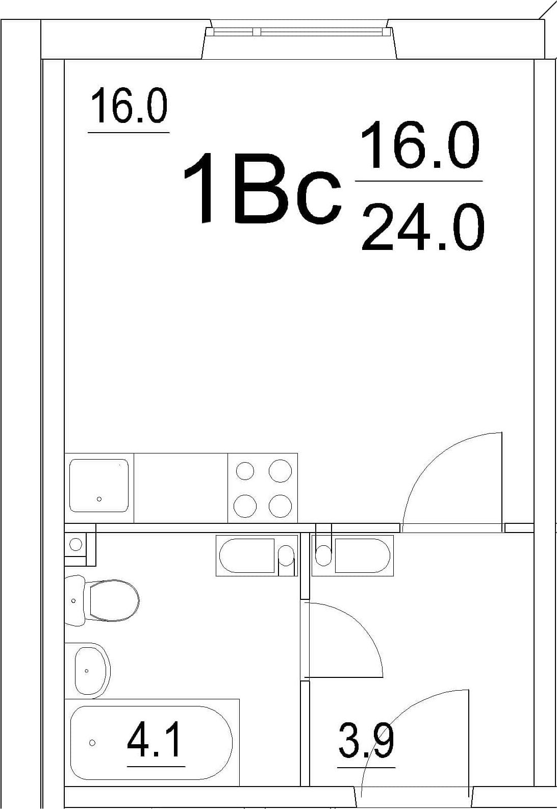 Студия, 24 м²