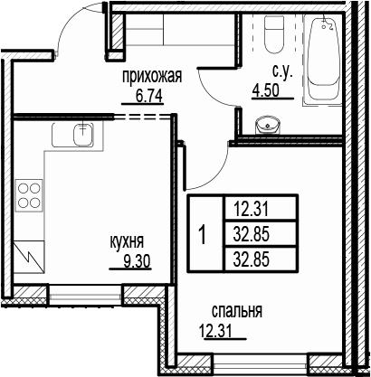1-к.кв, 32.85 м²
