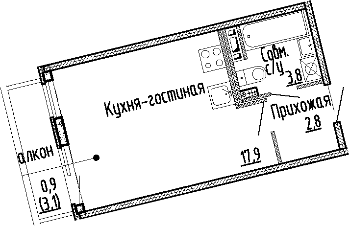 Студия, 24.5 м², 2 этаж