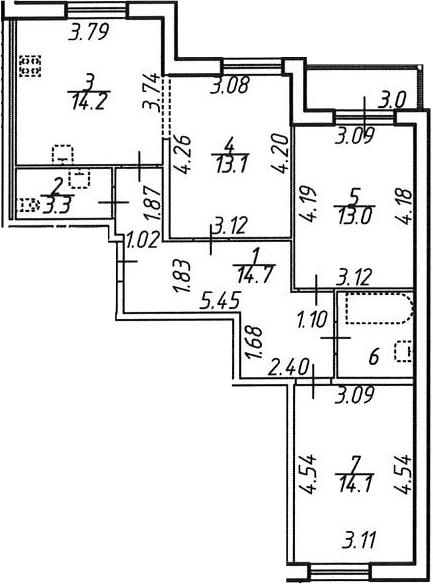 3-к.кв, 79.7 м²