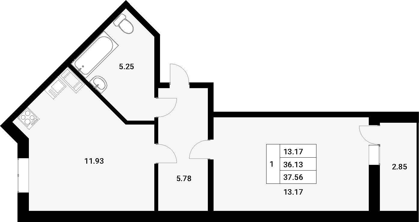 1-к.кв, 38.99 м²
