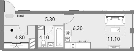 Студия, 31.6 м²