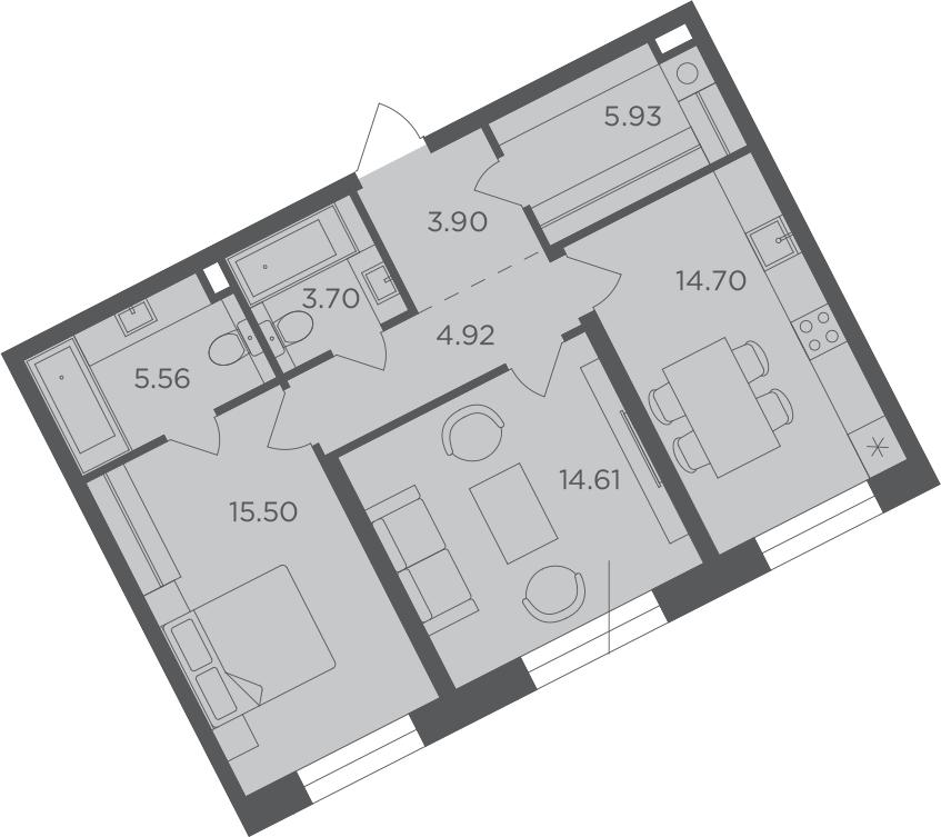 2-к.кв, 68.82 м², 9 этаж