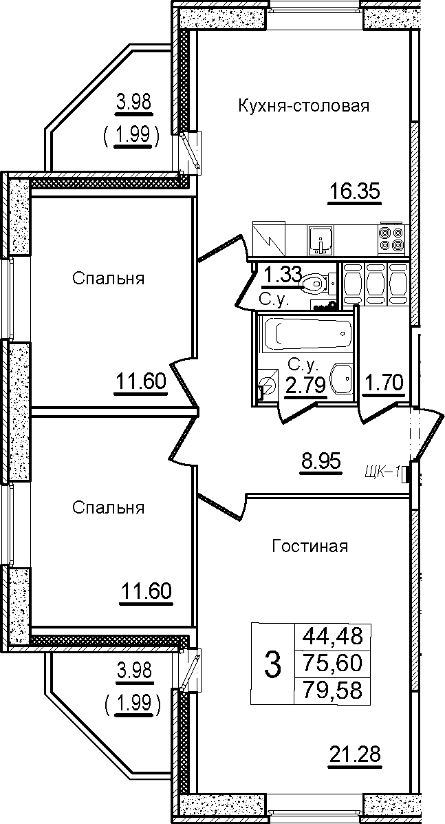 4Е-к.кв, 79.58 м², от 7 этажа