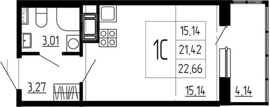 Студия, 21.42 м²