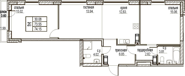3Е-комнатная, 74.15 м²– 2