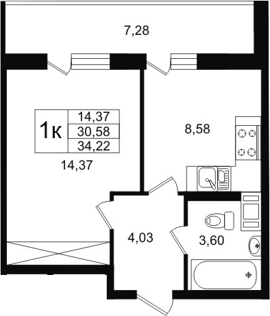 1-комнатная, 30.58 м²– 2