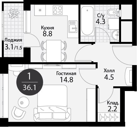 1-к.кв, 37.65 м²