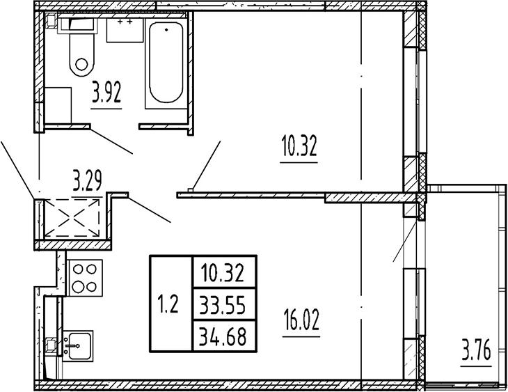 2Е-комнатная, 33.55 м²– 2