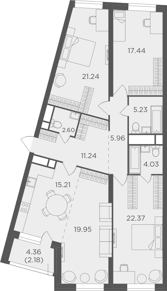 4Е-к.кв, 127.45 м²
