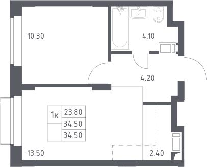 2Е-к.кв, 34.5 м², 16 этаж