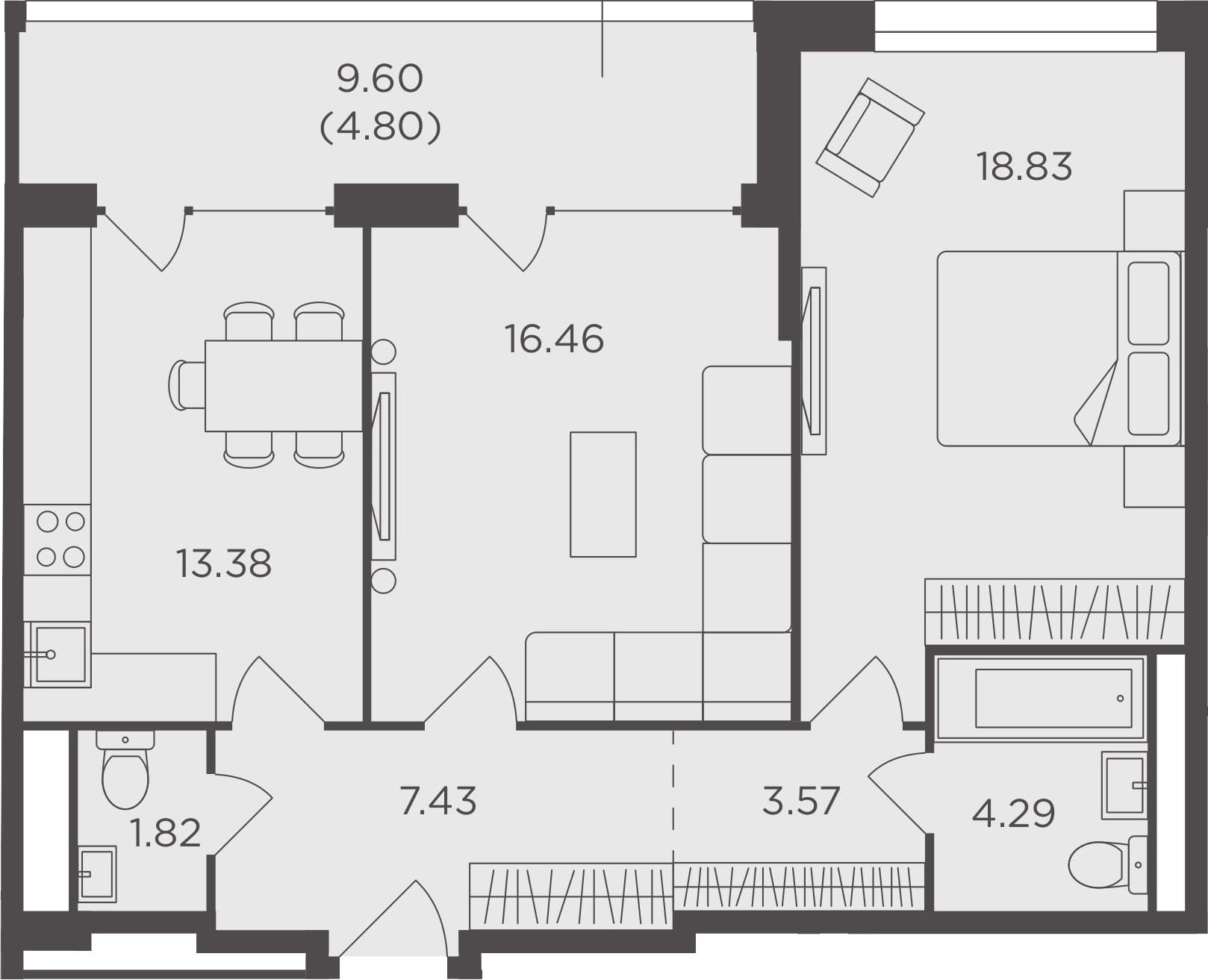 2-комнатная, 70.58 м²– 2