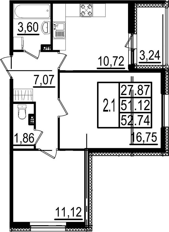 2-комнатная, 51.12 м²– 2