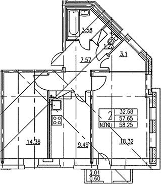2-к.кв, 59.65 м²