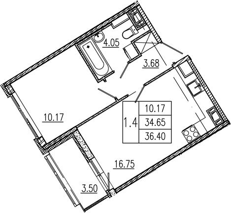2Е-к.кв, 34.65 м², 10 этаж