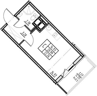 Студия, 20.99 м², 20 этаж