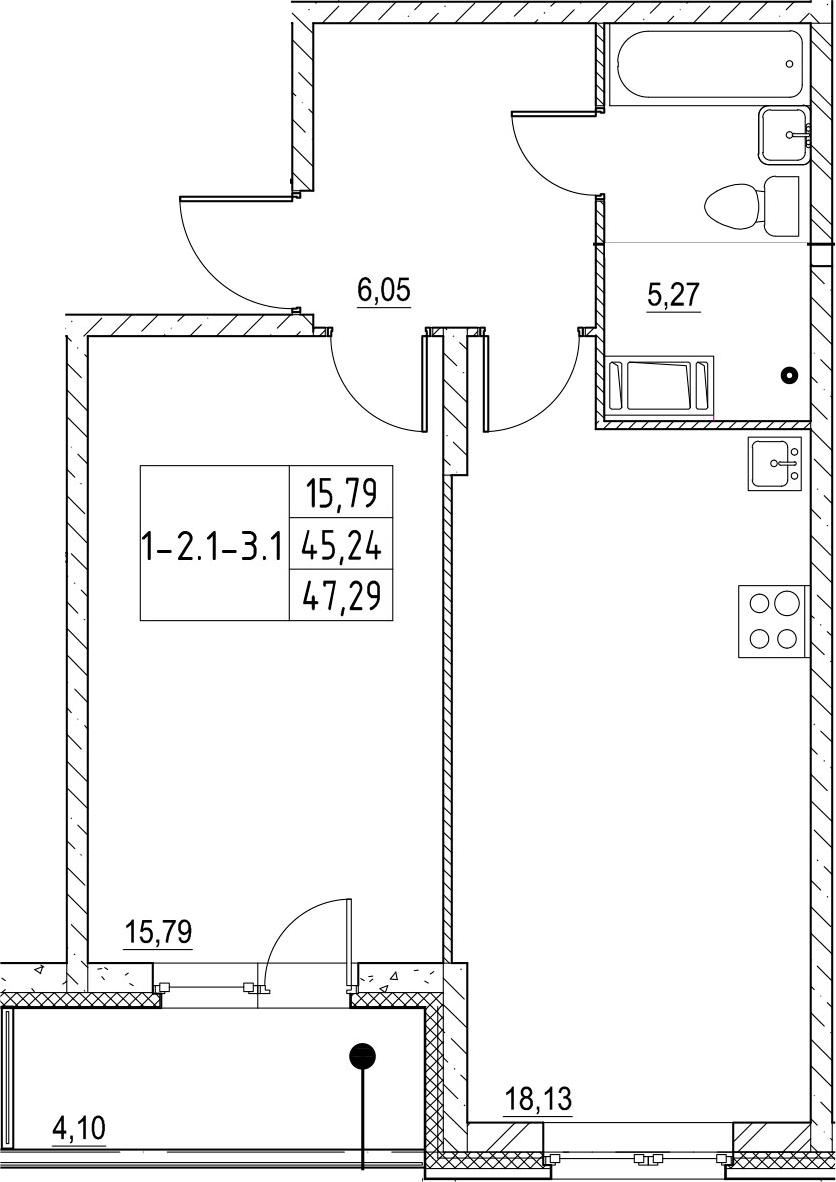 2-к.кв (евро), 49.34 м²