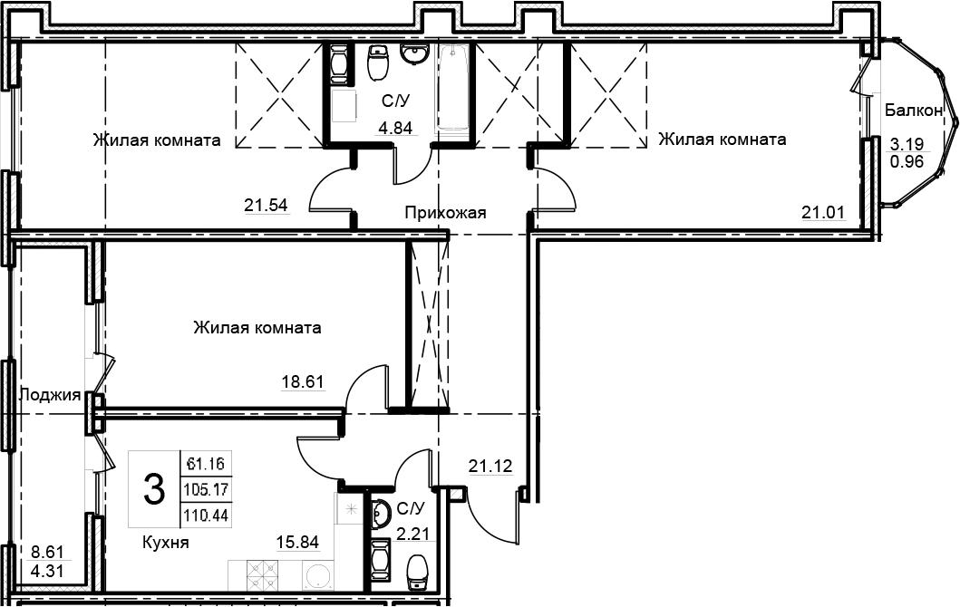 3-к.кв, 110.44 м²