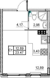 Студия, 23.47 м²– 2