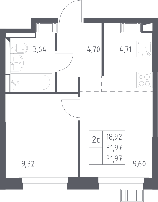 2Е-к.кв, 31.97 м², 15 этаж