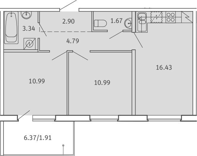3Е-к.кв, 53.02 м²