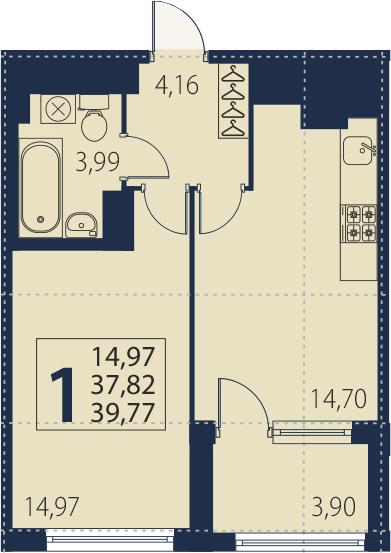 2Е-к.кв, 37.82 м², от 4 этажа
