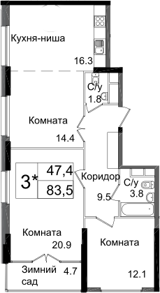 3Е-к.кв, 83.5 м², 11 этаж