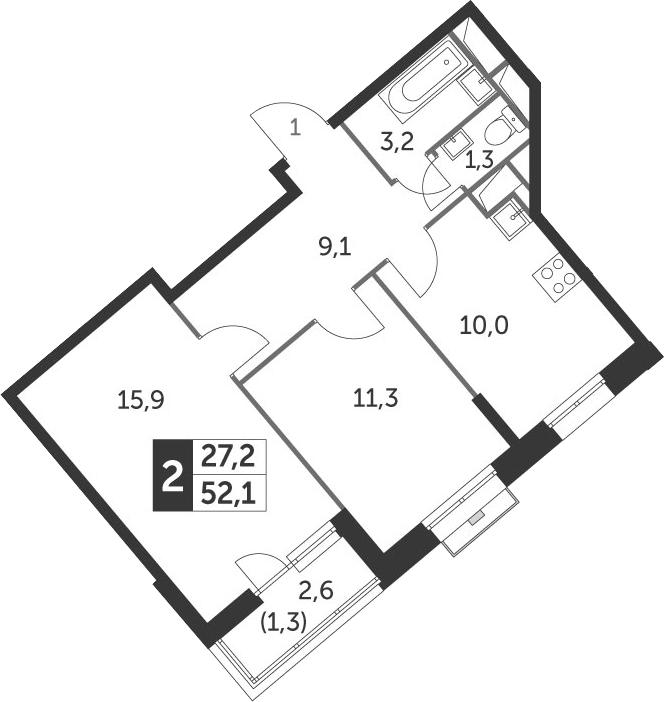 2-комнатная, 52.1 м²– 2