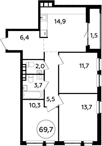 3-комнатная, 69.7 м²– 2