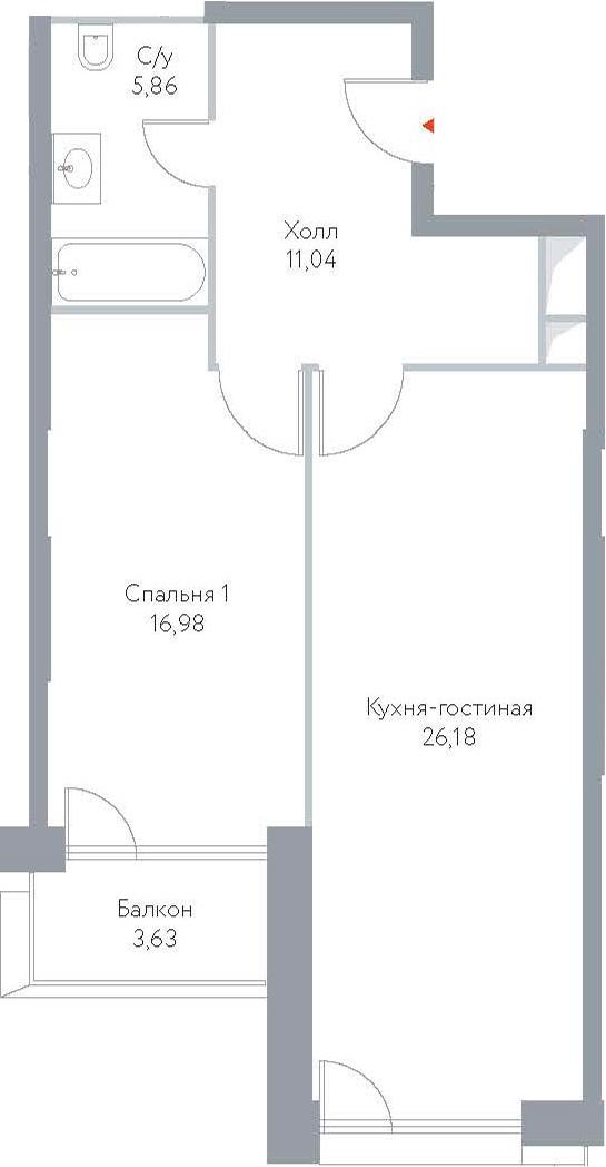 2Е-к.кв, 63.69 м², 12 этаж