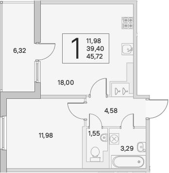 2Е-комнатная, 42.56 м²– 2