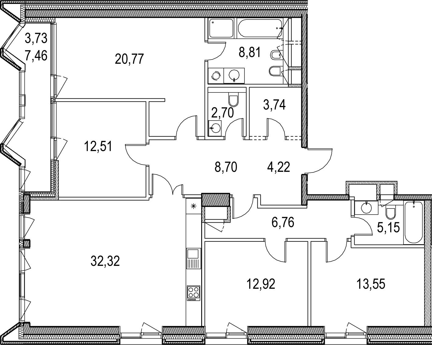 5Е-комнатная, 135.88 м²– 2