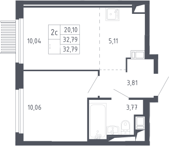 2Е-к.кв, 32.79 м²