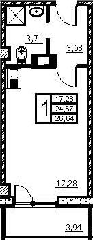 Студия, 28.61 м²