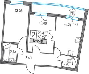 2-к.кв, 53.22 м²