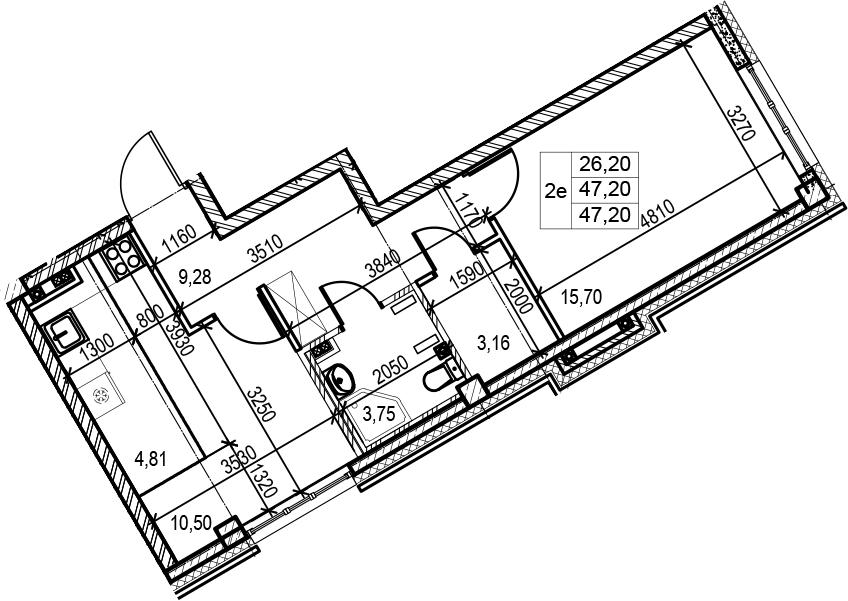 2Е-комнатная, 47.2 м²– 2