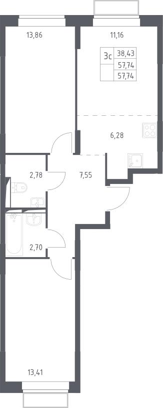 3Е-комнатная квартира, 57.74 м², 2 этаж – Планировка